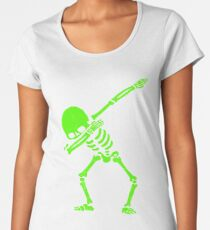 Dabbing Skeleton Green Women's Premium T-Shirt
