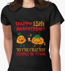 15th Wedding Anniversary T-Shirt For Couples On Halloween. Women's Fitted T-Shirt