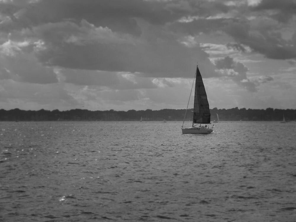 boat on Narragansett Bay, Newport, RI by colleenboston