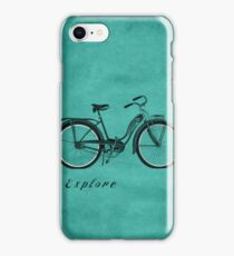 Retro Bicycle Pop Art 'Explore'. iPhone Case/Skin
