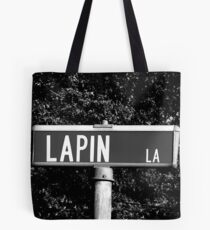A Street Sign Named Lapin Tote Bag