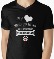 Veterinarian Lover Shirt/Hoodie/Tank/Dress-My Heart Belongs- Cool Present Men's V-Neck T-Shirt