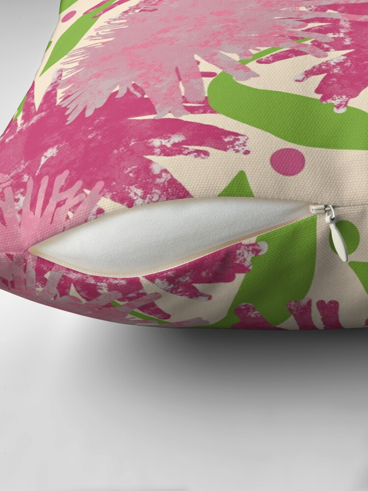 Alternate view of Abstract Pink Puffs Flowers Throw Pillow