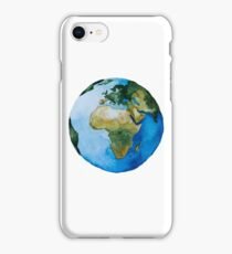 Hand paint watercolor planet earth illustration. iPhone Case/Skin