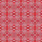 Helices, Red and White Abstract Arabesque Pattern by clipsocallipso