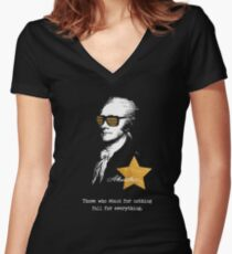 Alexander Hamilton. Those who stand for nothing fall for anything. Women's Fitted V-Neck T-Shirt