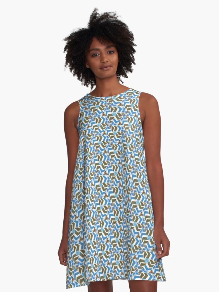 Blue Directions | Pattern A-Line Dress Front