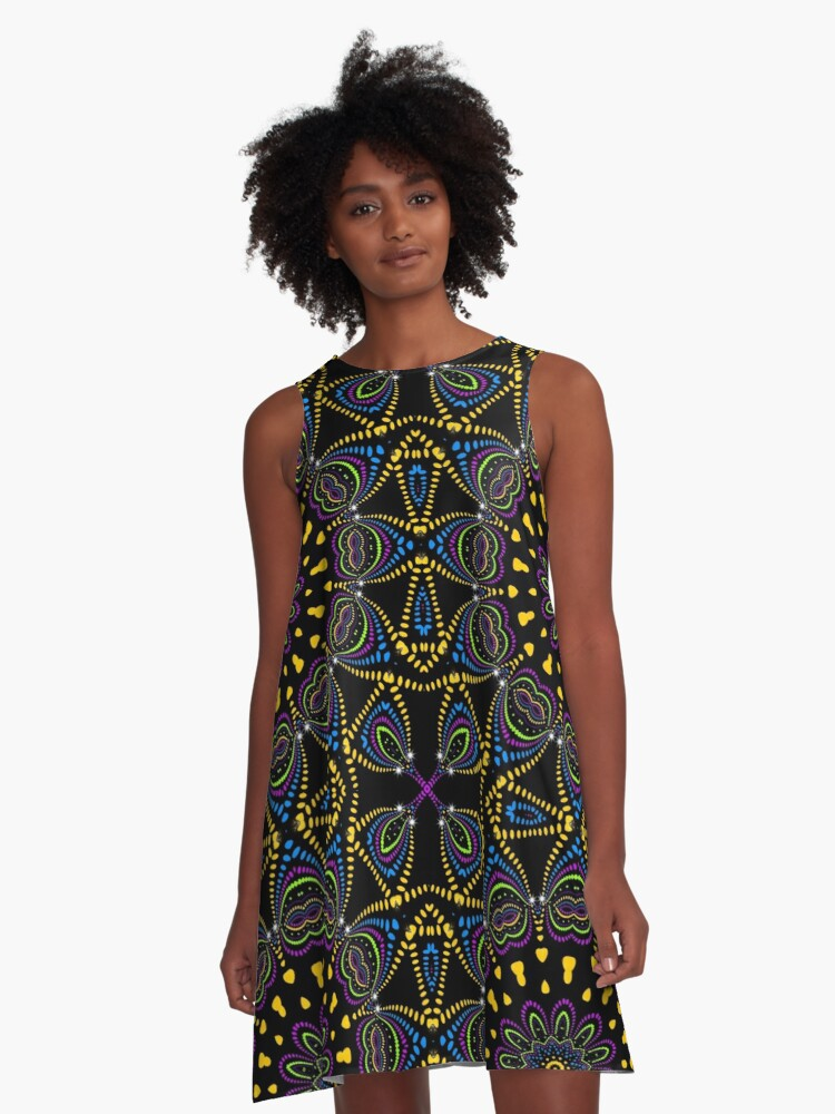 Groovy Blacklight Love A-Line Dress Front