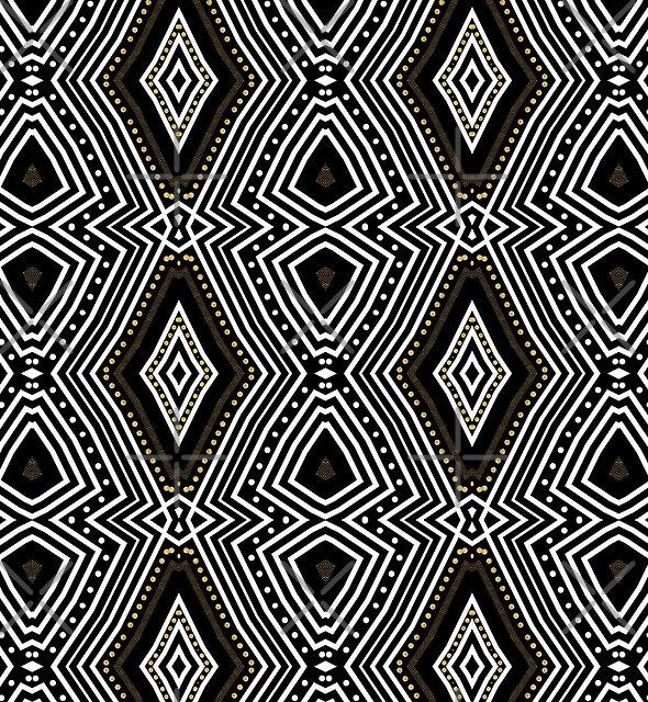 Tribal Diamond Black White + Gold by webgrrl