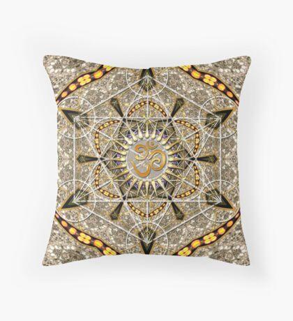 Bohemian Yoga Gold Om Geometry Art Throw Pillow