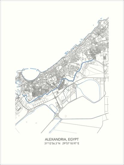 Alexandria Map Map Of Alexandria Town Map Alexandria Print