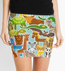 Cartoon animals on blue Mini Skirt
