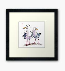 Keeping an eye - Seagull Design Framed Print