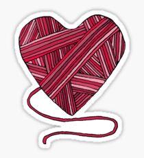 Pink Yarn Heart Sticker