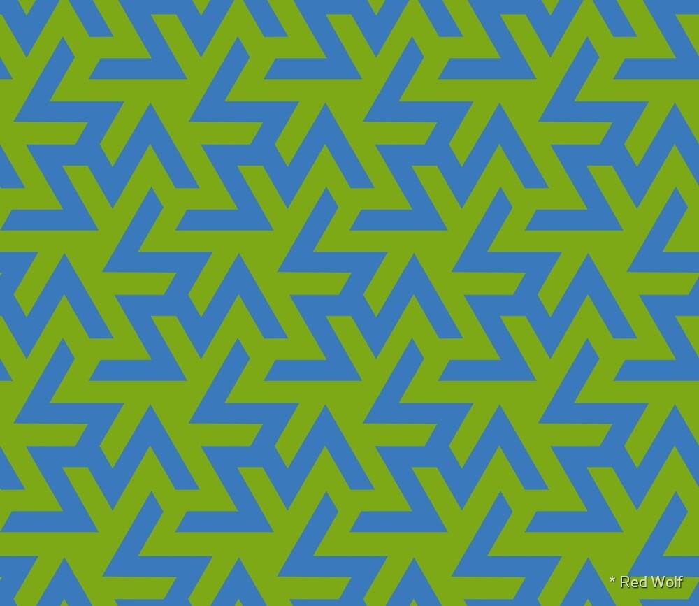 Geometric Pattern: Triskelion: Blue/Green by * Red Wolf