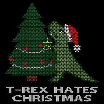 T-Rex Hates Xmas Sweater Print by afletcher
