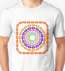 Set of Circle Colorful Chain Frames Isolated on White Background T-Shirt