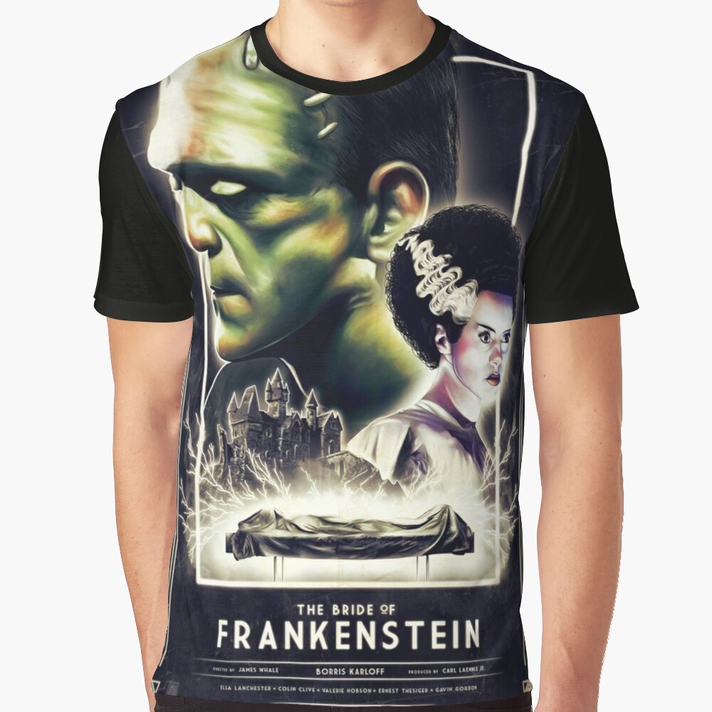 Frankie Finds Love! Frankenstein Boris Karloff Graphic T-Shirt