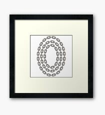 Set of Oval Chain Frames Isolated on White Background Framed Print