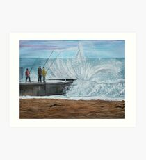Fishing, Collaroy Beach, Australia, Seascape Art Print