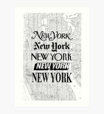Lámina artística Nueva York - Vintage Street Map Typography