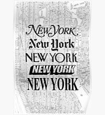 New York City - Weinlese-Straßenkarte-Typografie Poster