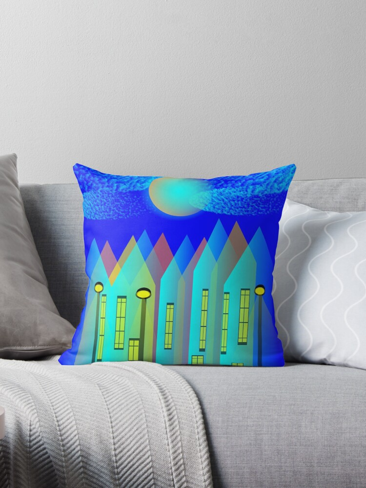 Row Houses Blue and Turquoise - by Matilda Lorentsson by M-Lorentsson
