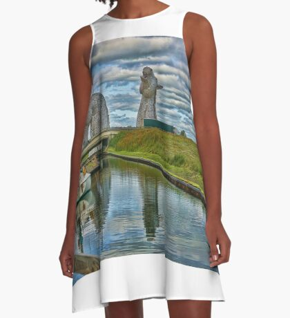 the Kelpies , Helix Park, Grangemouth , Scotland A-Line Dress