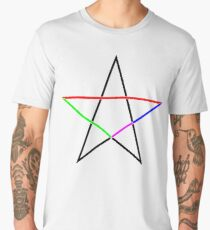 Pentagram, coloured to distinguish its line segments of different lengths. The four lengths are in golden ratio to one another. Men's Premium T-Shirt