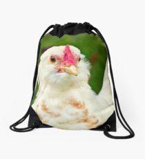 White Barbu d'Uccle bantam chicken Drawstring Bag