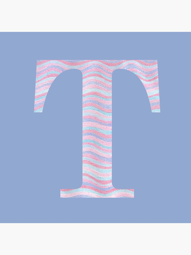 Initial T Rose Quartz And Serenity Pink Blue Wavy Lines by theartofvikki