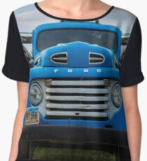 Vintage Blue Ford Truck Women's Chiffon Top
