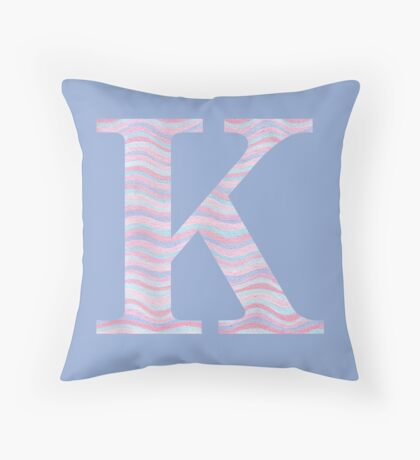 Initial K Rose Quartz And Serenity Pink Blue Wavy Lines Throw Pillow