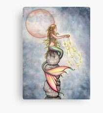 """Star Filled Sky"" Mermaid Art by Molly Harrison Canvas Print"