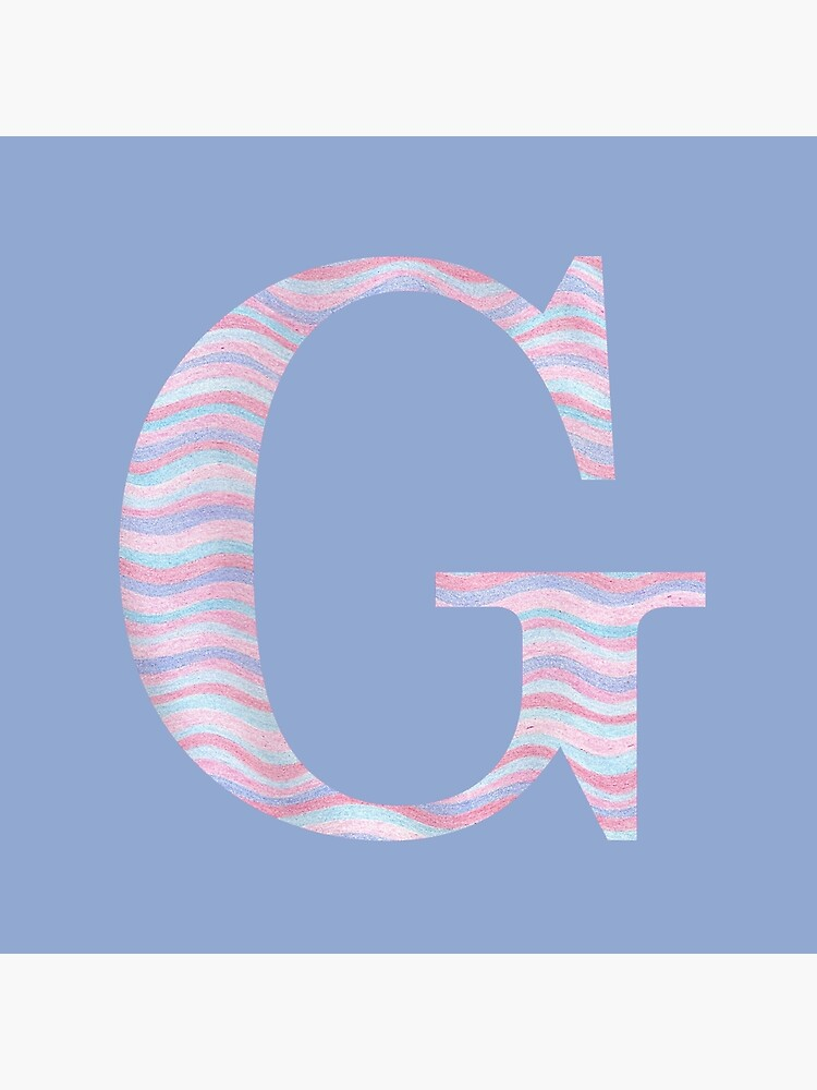 Initial G Rose Quartz And Serenity Pink Blue Wavy Lines by theartofvikki