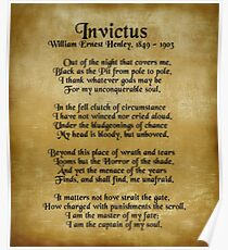 Invictus, Ernest Henley poem on parchment Poster