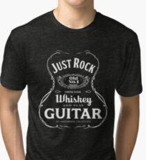 Rock Whiskey and Guitar T-shirt Tri-blend T-Shirt