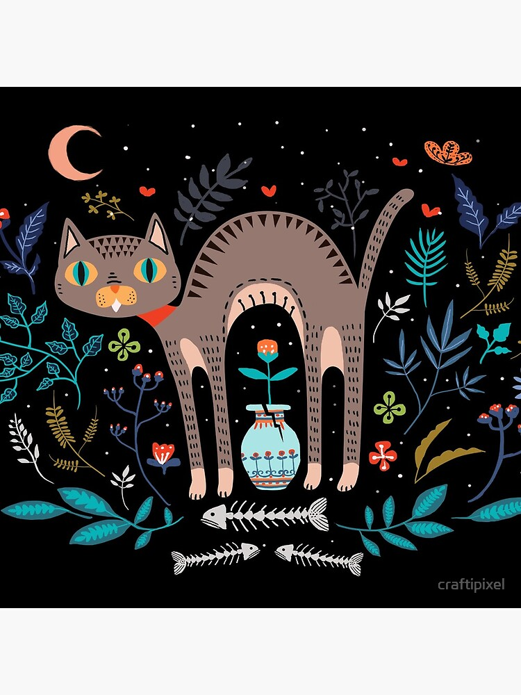 Floral and Cat at night by craftipixel