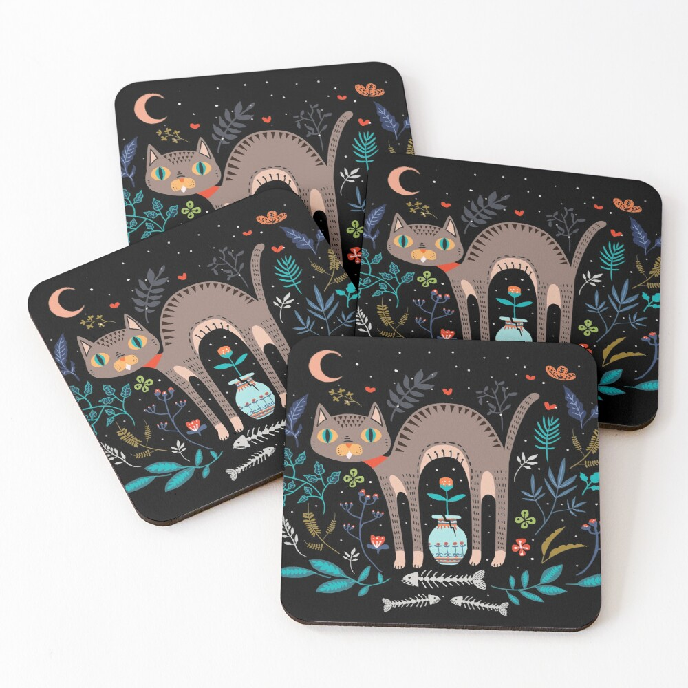 Floral and Cat at night Coasters (Set of 4)