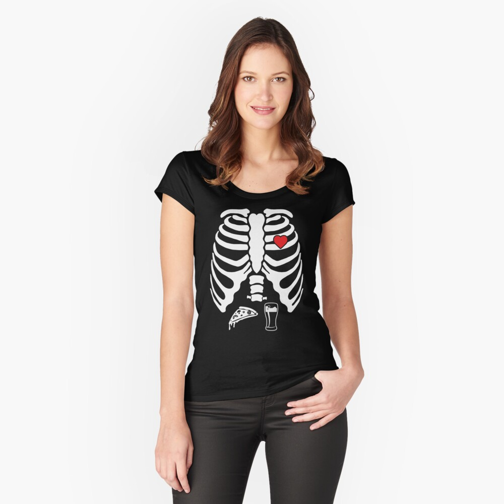 5131301b Skeleton Maternity Pizza Beer X-Ray Halloween T-Shirt