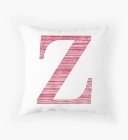 Letter Z Red Watercolor Stripes Initial Monogram Throw Pillow