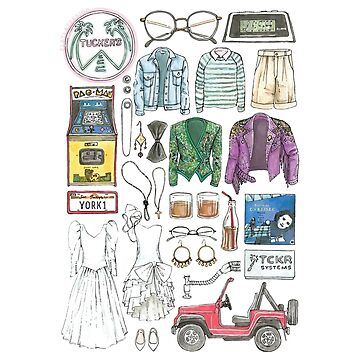 SAN JUNIPERO Black Mirror Flat Lay Objects Costumes 80's Yorkie and Kelly by flatlaydesign