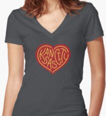f3c725fbdf91 Love KC (red x yellow) Women s Fitted V-Neck T-Shirt