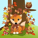 Cute fall Fox and Owl by walstraasart