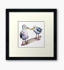 Suspicious minds - seagull design Framed Print