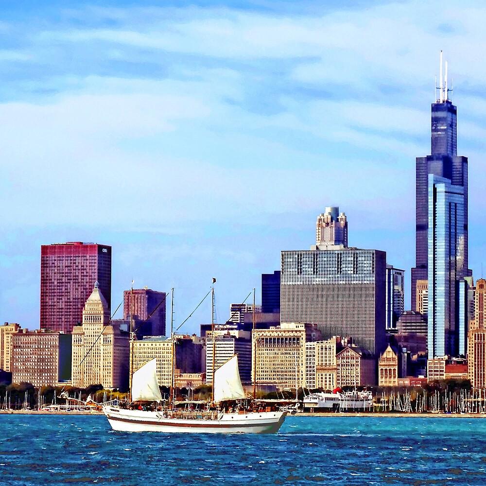 Chicago IL - Schooner Against Chicago Skyline by Susan Savad