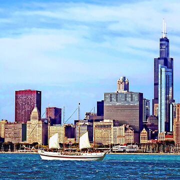 Chicago IL - Schooner Against Chicago Skyline by SudaP0408