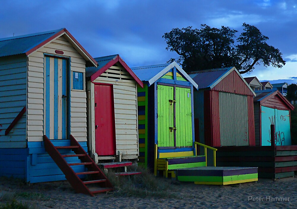 Bathing boxes at sunset by Peter Hammer