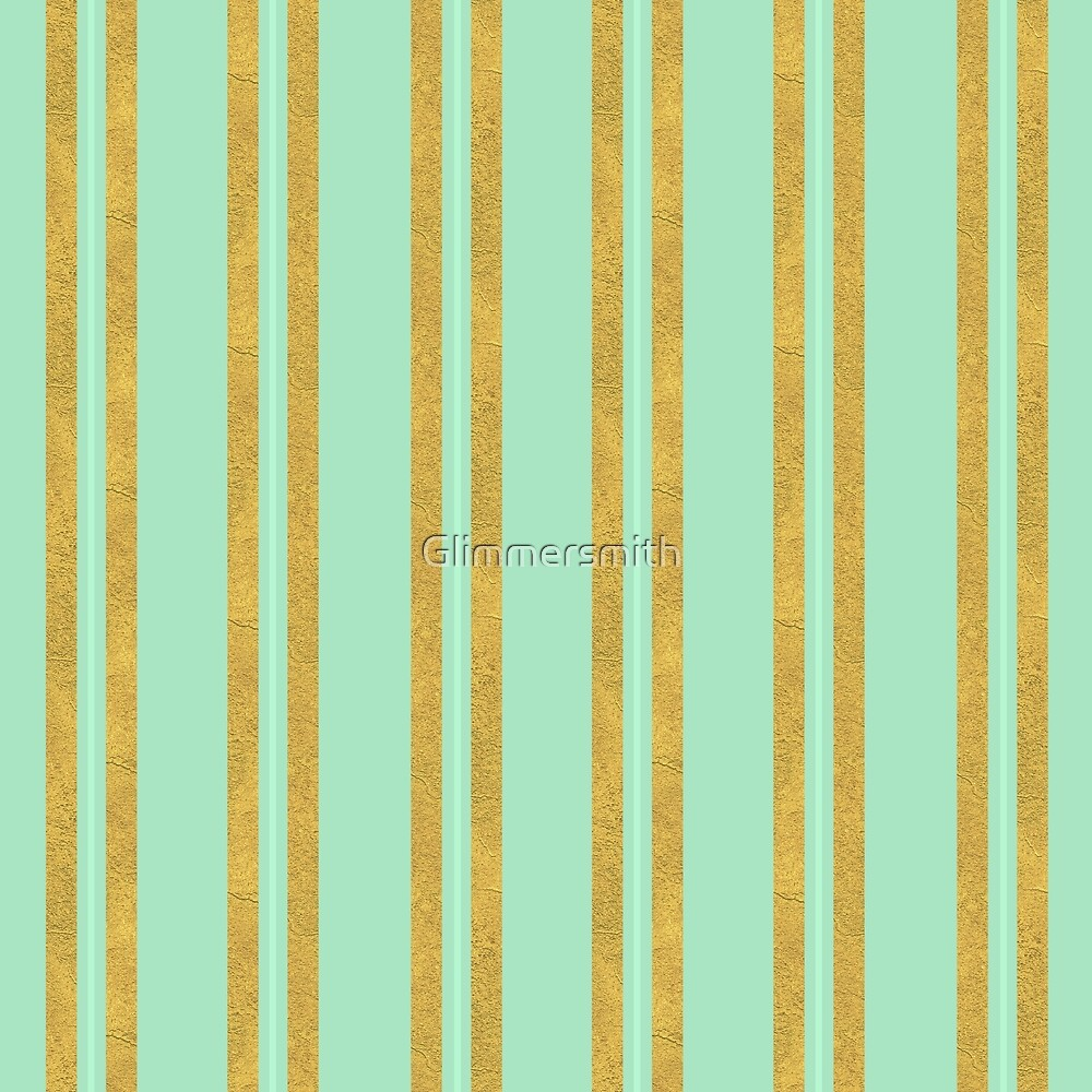 Classic fabric texture pattern, faux Gold foil stripes on mint green and aqua by Glimmersmith
