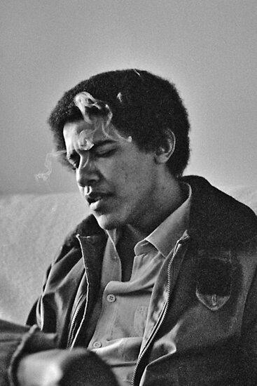Junger Barack Obama - rauchender Druck von budgetnudest